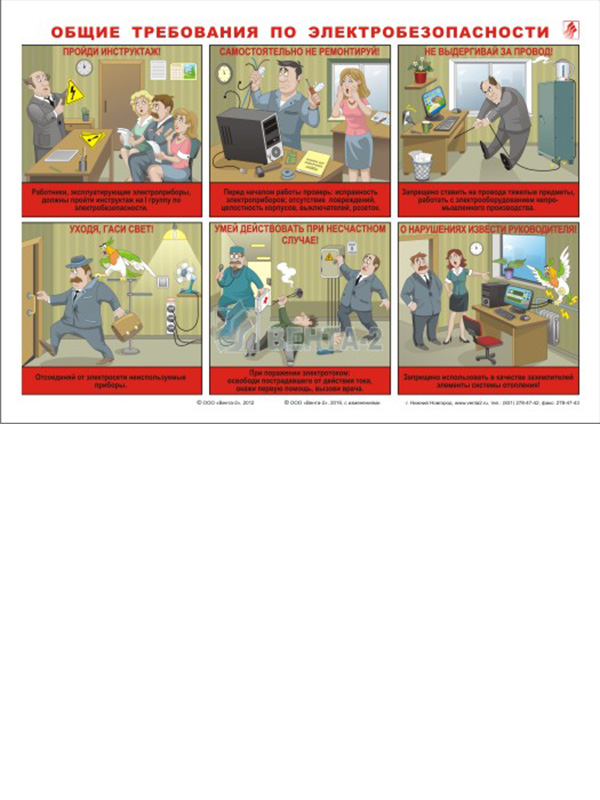 Плакаты «Комплект для офиса: пожарная безопасность, электробезопасность, гражданская оборона» (В-07, ламинированная бумага, A3, 3 листа)