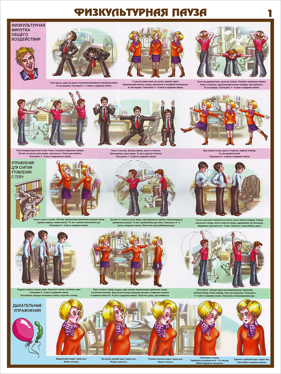 Плакаты «Физкультурная пауза» (С-25, ламинированная бумага, А2, 3 листа