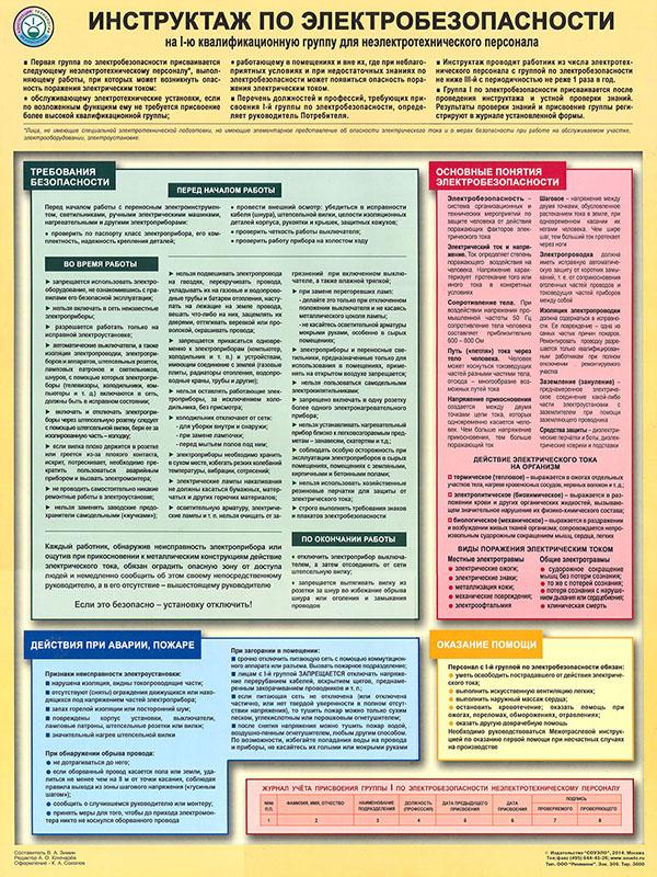 Плакат «Инструктаж по электробезопасности - на I квалификационную группу для неэлектротехнического персонала» (С-71, ламинированная бумага, А2, 1 лист