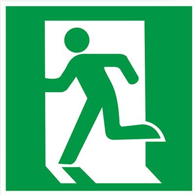 Знак E01-01 «Выход здесь (левосторонний)» (пленка, 200х200 мм)