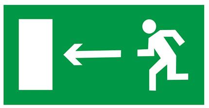 Знак E04 «Направление к эвакуационному выходу налево» (пленка, 300х150 мм)