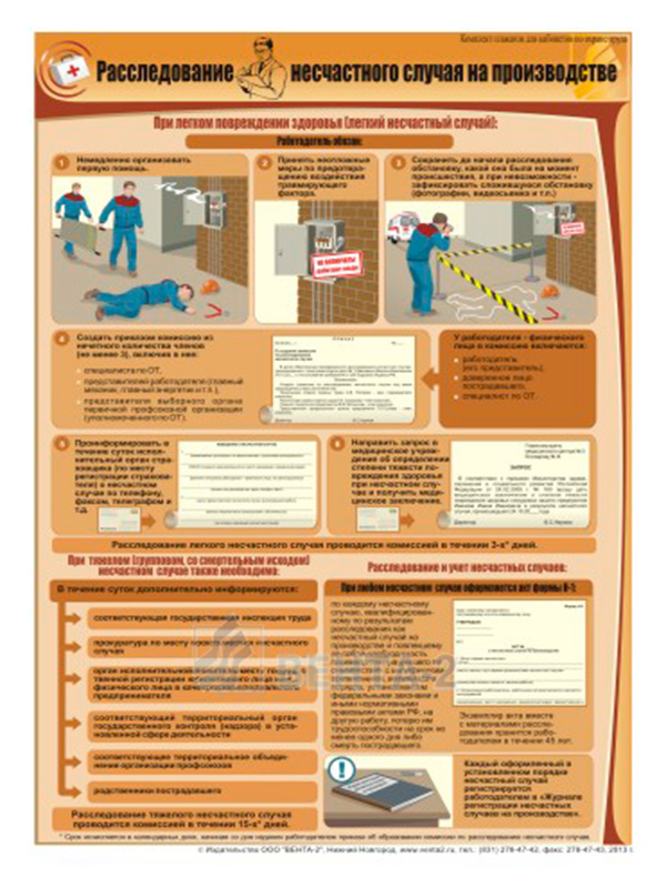 Плакат «Расследование несчастного случая на производстве» (В-23, ламинированная бумага, A2, 1 лист)