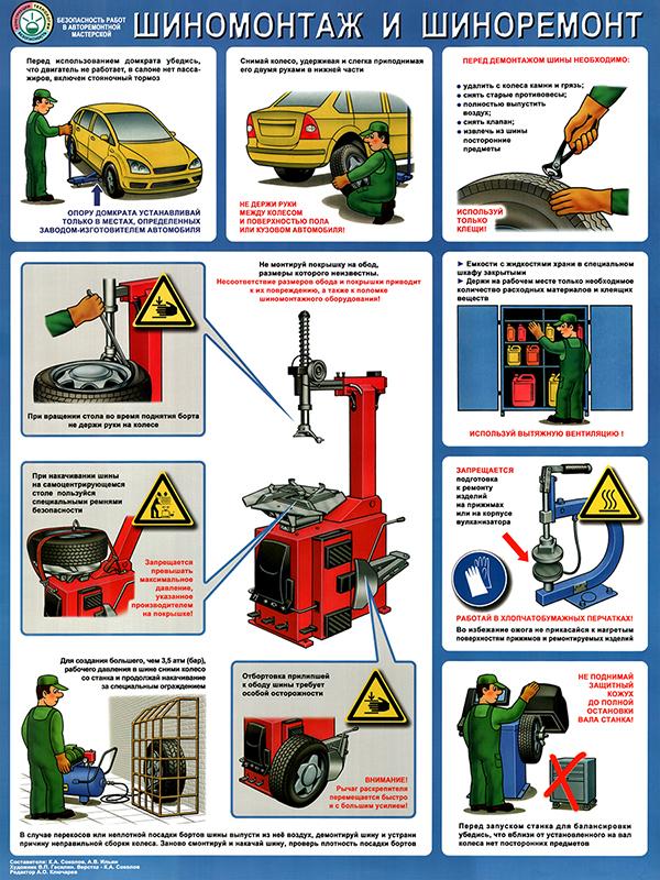 Плакат «Безопасность в авторемонтной мастерской. Шиномонтаж и шиноремонт» (С-13, ламинированная бумага, А2, 1 лист