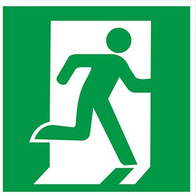 Знак E01-02 «Выход здесь (правосторонний)» (пленка, 200х200 мм)