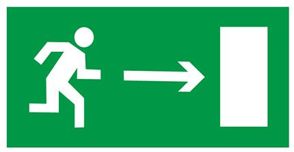 Знак E03 «Направление к эвакуационному выходу направо» (пленка, 300х150 мм)